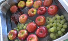 DIY Fruit and Vegetable Wash - fill sink with water, add 1 C. vinegar, mix. Add all fruit and soak for 10 minutes. Water will be dirty and fruit will sparkle with no wax or dirty film. Great for Berries too--keeps them from molding and they last for weeks!
