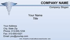 A blue medical business card with the Caduceus symbol at the top. Doctors, medical billing, and pharmaceutical sales are among the potential uses. Free to download and print Company Slogans, Company Names, Pharmaceutical Sales, Medical Billing, Doctors, Business Cards, Printables, Education, Top