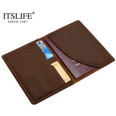 100% New Men's Vintage Brown Genuine Leather Passport Wallet Medium Male Slim 2 Card Holder Crazy Horse Cow Leather Bi-fold
