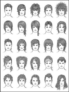Hairstyles for male characters. Feel free to use for inspiration. NOTE: Please do not trace or copy and paste the images you see on these ref sheets. They're to inspire you to create your own hand-...