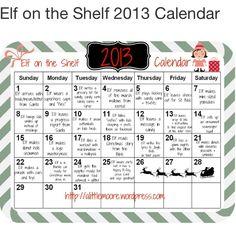 Elf on shelf calendar