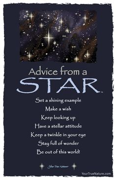 Beauty Advice from a Star: Keep a twinkle in your eye. Your True Nature