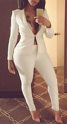 Long Sleeve Solid Color Blazer + Skinny Pants