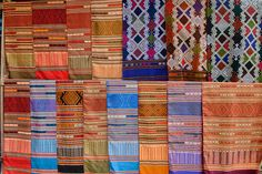 Thai silk Scarves and textiles in Bangkok.