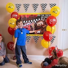 Partiers can enjoy life in the fast lane with this Cars Party Game, a fun take on Pin the Tail on the Donkey!