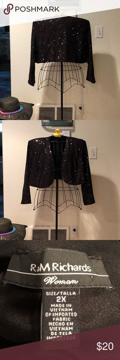 Plus size black sequins jacket Sparkling black sequins jacket. Fully lined & sure to get compliments. 97% polyester & 2% spandex. EUC R & M Richards Jackets & Coats