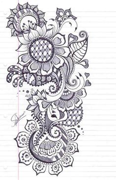 The description called it a Henna Design, but I'm putting it with my zendoodle/tangles. Maori Tattoos, Henna Tatoos, Henna Art, Body Art Tattoos, Mandalas Painting, Mandala Drawing, Mandala Art, Henna Drawings, Doodle Drawings