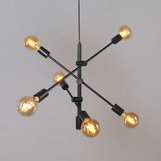 Qazqa Sydney 6 Hanglamp - Zwart - afbeelding 2 159e