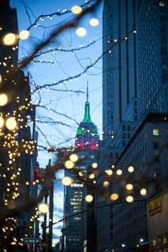 New York City lights Empire State Building