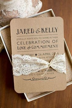 rustic printed wedding invitations with lace ribbon