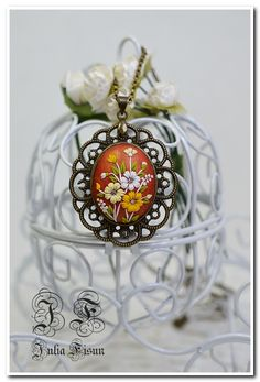 """Shaped Pendant Necklace """" Hot summer"""" - Floral Jewelry-Feminine Necklace Polymer Clay-Applique Floral Embroidery-Filigree Technique by BiJuly on Etsy"""