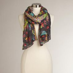 One of my favorite discoveries at WorldMarket.com: Black and Multicolor Animal Scarf