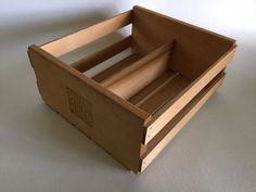 Napa Valley Box Company Divided Natural Wood CD Wooden Storage Crate Holder Case #NapaValleyBoxCompany
