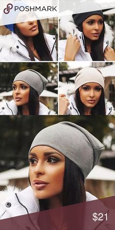Soft Slouchy Beanie Cotton/Polyester Blend  Incredible soft, lightweight beanie, four colors available, blue, black, cream, grey Accessories Hats