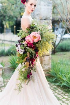 Organic, Whimsical Cascading Wedding Bouquet : Pink, blush and red trailing blooms and ferns including peonies, poppies, and wildflowers. Jack And Jane Photography
