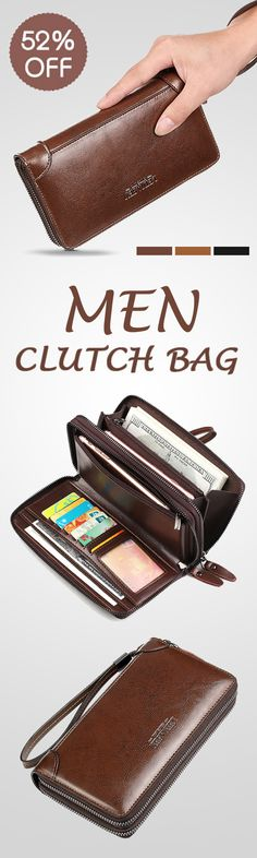 52%OFF&Free shipping. Men Clutch Bag, Multi-function, Business, High-capacity Genuine Leather Oil Wax Wallet. Color: Black, Dark Brown, Brown. Shop now~