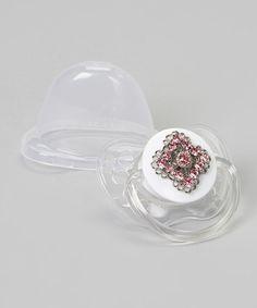 Look at this #zulilyfind! Pink Mini Crystal Pacifier by Crystal Dream #zulilyfinds