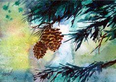 Two Pinecones Pinecone Watercolor Tree by MarybethArtStudio