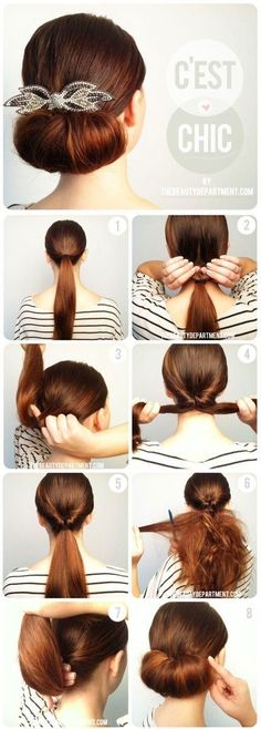 Twisted Flip Bun Updo Tutorial. Hope it fits medium hair too!