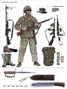 "H: UNIFORMES Y EQUIPOS DE LOS RAIDER (1943)  H1: Raider de la Campaña de Boungainville armado con el fusil M-1903A1.  H2: Fusil Automático Browing (BAR).  H3: Subfusil Thompson M-1938.  H4: Carabina M-1A1.  H5: Sombrero impermeable.  H6: Gorra de Faena P-1941.  H7: Botas Boondockers.  H8: Botas de goma y tela.  H9: Mochila extensible para jungla.  H10: Cuchillo de trinchera de la 1ª Guerra Mundial.  H11: Machete Modelo ""Bolo"".  H12: Ración K."