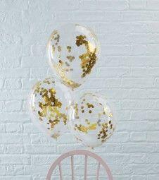 Transparente Ballons mit goldenem Konfetti - 5 Stück