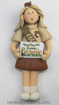 BROWNIE SCOUT ORNAMENT - Brownie Scout Ornament  Choose Hair Color and wording on her banner to make it custom