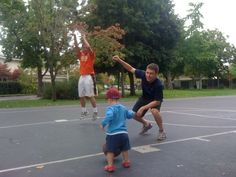 Jake and Wil showing George Graham how to play basketball. GG, GG...