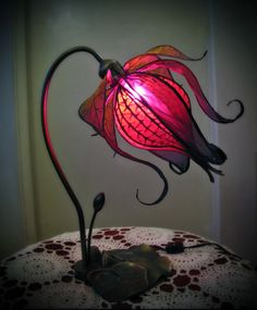 Little Wing Faerie Art: Enchanted Lily Lamp.  Bring a bit of magic to your home and gently light the night with this hand made silk flower lamp.