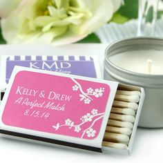 Personalized Matchbox Wedding Favors (Set of 50) (Designing Ducks 9224000) | Buy at Wedding Favors Unlimited (https://www.weddingfavorsunlimited.com/personalized_silhouettes_matchbox_favors_set_of_50.html).