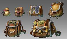 Swords and Poker Adventures bag designs, bryant Koshu on ArtStation at https://www.artstation.com/artwork/swords-and-poker-adventures-bag-designs