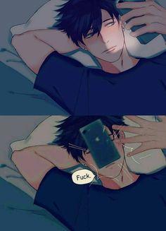 now your phone fall flatly on your face :D Anime Chibi, Anime Meme, Kawaii Anime, Manga Anime, Cute Anime Guys, Anime Boys, Anime Style, Image Manga, Anime Love Couple