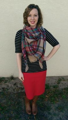 Blanket Scarf & Stripes. Modern Modesty Blog. Modest Outfit Ideas.