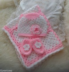 Hand Crochet Granny Square Baby Pram Blanket, Beanie Hat and Cute Mittens £22.00