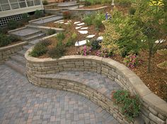 Take a seat on this seating wall made with the Highland Stone system.