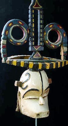White Oma mask with headdress from Nigeria, Africa