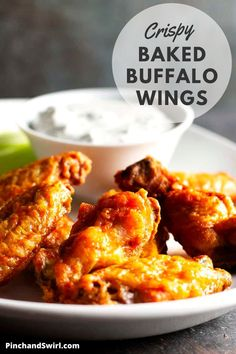 Truly Crispy Baked Buffalo Wings are possible with one simple every day ingredient! A healthy and eay way to enjoy the classic party snack straight from your own oven! #buffalowings #appetizerrecipes #appetizersforacrowd #chickenwings #GameDay #gamedayfood #bakedbuffalowings Appetizers For A Crowd, Appetizer Recipes, Dinner Recipes, Baked Buffalo Wings, Buffalo Chicken, Wings In The Oven, Homemade Buffalo Sauce, Healthy Snacks, Healthy Recipes