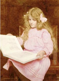 A Young Girl Reading A Book by George Lawrence Bulleid, 1858-1933, English.