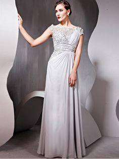 Cheap Elegant A-line Bateau Beading Sleeveless Floor-length Chiffon Dresses