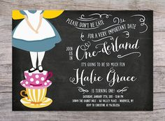 Alice in Onederland Birthday Party Invitation with Free Shipping or DIY Printable