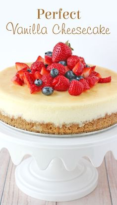 Simply the BEST Vanilla Cheesecake recipe! This No-bake Vanilla Cheesecake Is Topped With Your Favorite Fruits And A Drizzle Of Caramel Sauce! Plus, It's Made With A Homemade Browned Butter Graham Cracker Crust!. Best Plain Cheesecake Recipe, No Bake Vanilla Cheesecake, Cheescake Recipe, Best Cheesecake, Easy Cheesecake Recipes, Cheesecake Desserts, Dessert Recipes, Classic Cheesecake, Cookie Recipes