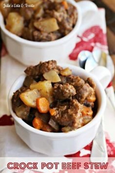 2 lbs beef stew meat, cut into 1 in cubes 1/4 c. all purpose flour 1/2 tsp salt 1/4 tsp pepper 2 clove garlic, minced 1 tsp paprika 1 tsp Worcestershire sauce 1 Tbsp dried onion flakes 1 1/2 c. beef broth 3 potatoes, diced 4 carrots, sliced