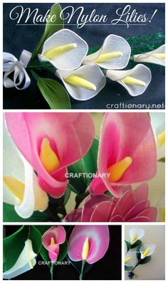 Make lilies with nylon... These will look great on weddings and bridal showers #lilies