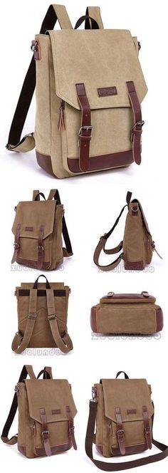 Retro Laptop Bag School Canvas Backpack Splicing PU Belts Flap Travel Square Rucksack for big sale! #retro #laptop #Pu #canvas#school #backpack #bag #college #student #leisure #fashion #rucksack #travel