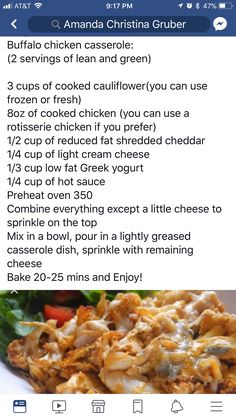 LC Buffalo Chicken Casserole swap low fat for full fat and we've got a great keto meal Medifast Recipes, Ww Recipes, Low Carb Recipes, Cooking Recipes, Healthy Recipes, Chicken Recipes, Healthy Dinners, Healthy Chicken, Healthy Tips