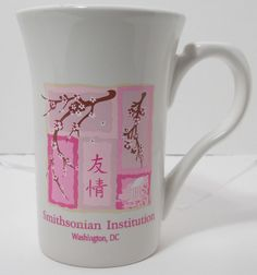 "Smithsonian Institution cherry blossoms 5"" white w/ pink"