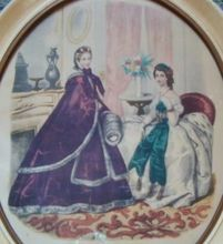 French Victorian Fashion Print in Shabby Cottage Chic Painted Wood Oval Frame