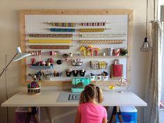 DIY pegboard craft room