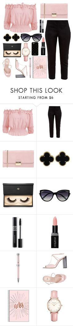 """Black and Pink"" by ayiarundhati ❤ liked on Polyvore featuring Ted Baker, Furla, Van Cleef & Arpels, Lash Star Beauty, La Perla, Christian Dior, Smashbox, Montegrappa, Fendi and Topshop"