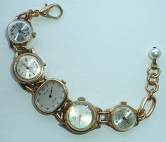 Steampunk Chic Jewellery. Recycled Vintage Watches Bracelet, Handmade in Oxfordshire, England.  This is a handmade, recycled vintage watches bracelet similar to that worn by Dr Whos previous assistant, the late Clara Oswald. You will get an opportunity to wear a piece of history every day by wearing this unique piece of jewellery.  This bracelet features 5 vintage gold-coloured watches which were all discarded because they no longer function as accurate timepieces (they may tick along for a…