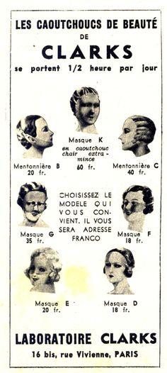 """Une publicité pour des masques de... beauté. Un tantinet effrayant, non? Réclame extraite de """"Marie-Claire"""" du 18 février 1938"""